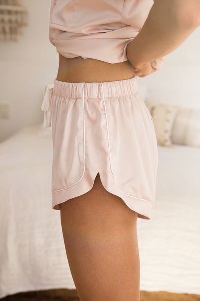 Grace Short Piping PJ Set - Blush - Homebodii US