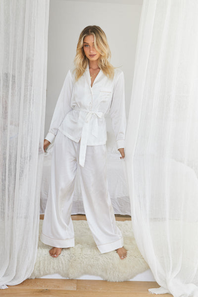 Imogen PJ Lounge Set - White - Homebodii US