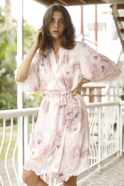 Annabelle Inky Floral Robe - Homebodii US