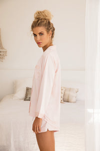 Piping Long Sleeve PJ Set - Blush - Homebodii US