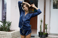 Piping Long Sleeve PJ Set - Navy - Homebodii US