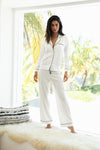 Sabrina Long PJ Set - White with Black Piping - Homebodii US