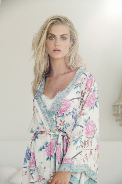 Long Boho Robe - Ivory - Homebodii US