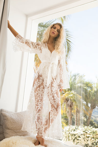 Madeleine Long Lace Robe - Homebodii US