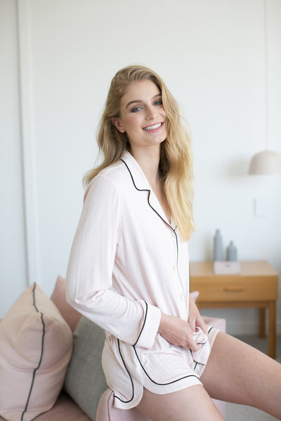 Petra Long Sleeve PJ Set - Blush - Homebodii US