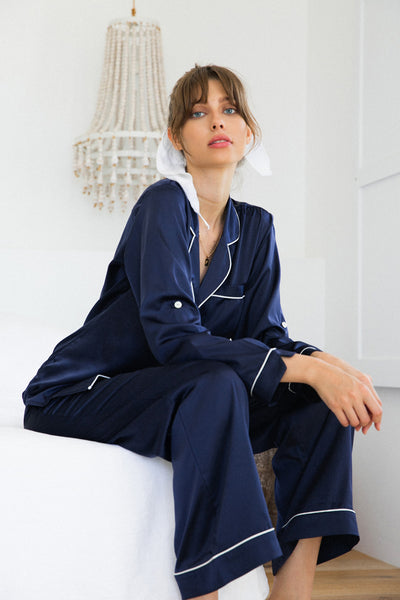 Sabrina Long PJ Set - Navy - Homebodii US