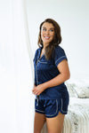 Grace Short Piping Pyjama Set - Navy - Homebodii US