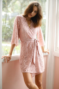 Willow Boho Short Lace Robe - Blush - Homebodii US
