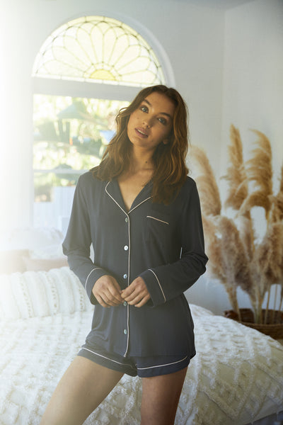 Petra Long Sleeve PJ Set - Charcoal - Homebodii US