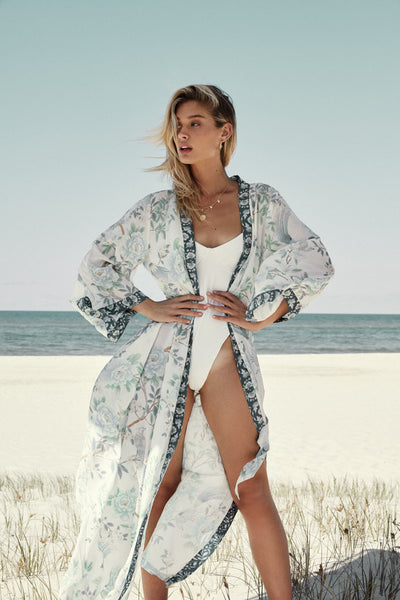 Long Boho Robe - Blue