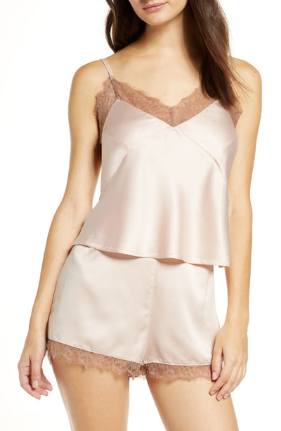 Astrid Cami Set - Blush with Chocolate Lace - Homebodii US