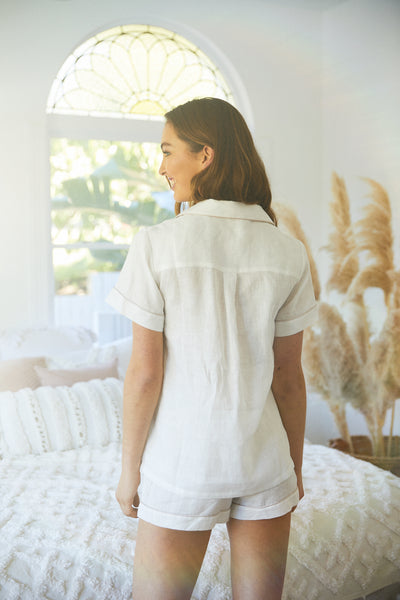 Linen Short PJ Set - White - Homebodii US
