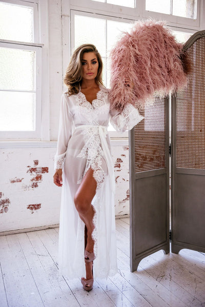 Helena Long Lace Robe - Homebodii US