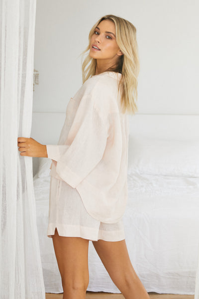 Riviera Linen PJ Set - Blush - Homebodii US