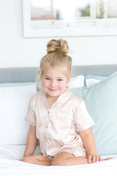 Children's Piping PJ Set - Blush - Homebodii US