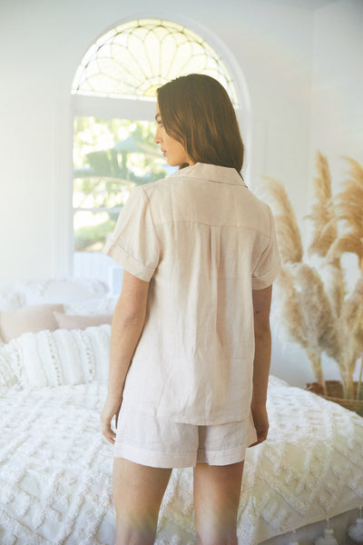 Linen Short PJ Set - Blush - Homebodii US
