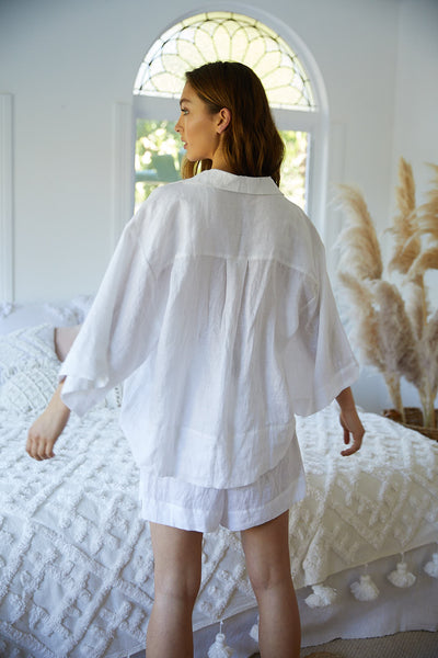 Riviera Linen PJ Set - White - Homebodii US