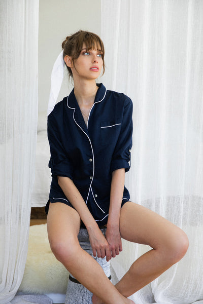 Linen Long Sleeve PJ Set - Navy with White - Homebodii US