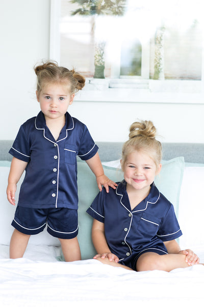 Children's Piping PJ Set - Navy - Homebodii US