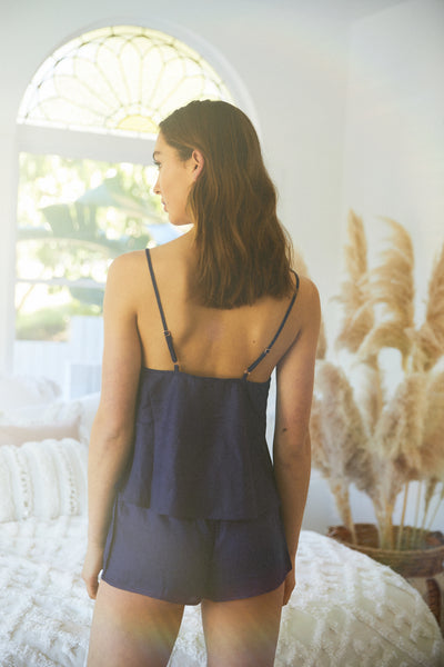 Linen Cami Set - Navy - Homebodii US