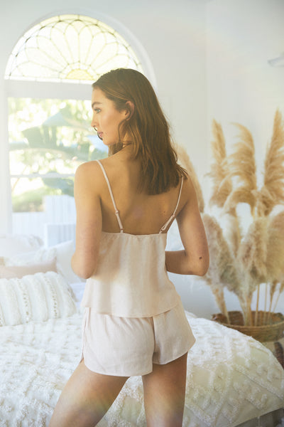Linen Cami Set - Blush - Homebodii US