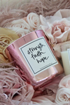 pink strength faith hope candle