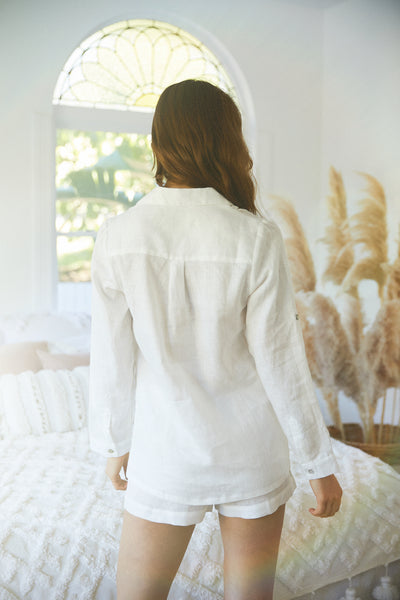 Linen Long Sleeve PJ Set - White - Homebodii US