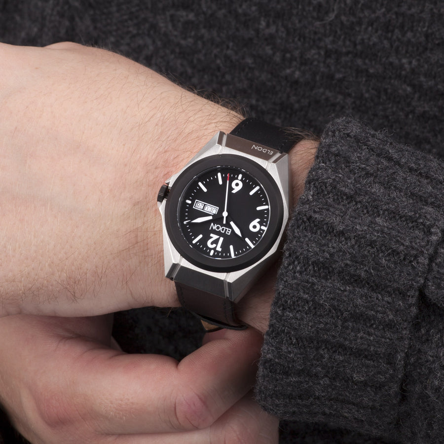 The Adventurer Original Modular Watch with Black Leather Strap on wrist