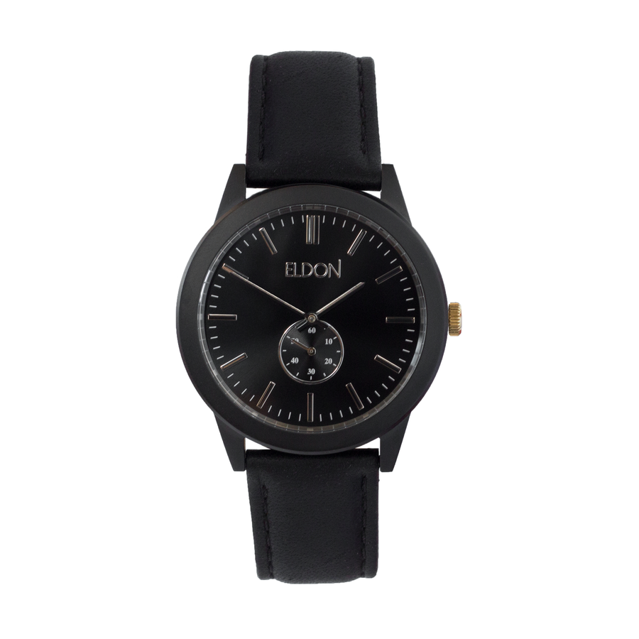 All Black watch with a black leather strap