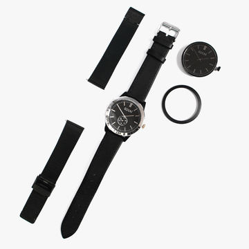 Black and silver watch with a black leather strap, black face and black bezel