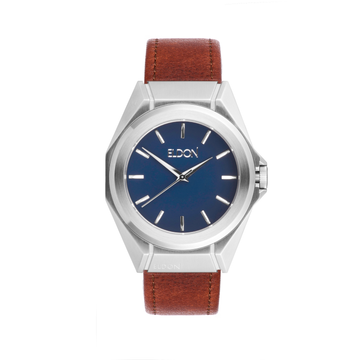 Minimalist Ocean Watch With Brown Leather Strap