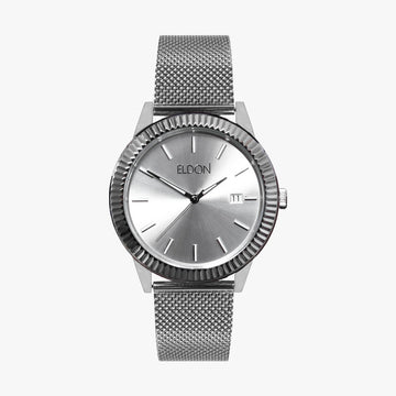 Silver watch with ridged bezel and silver mesh strap