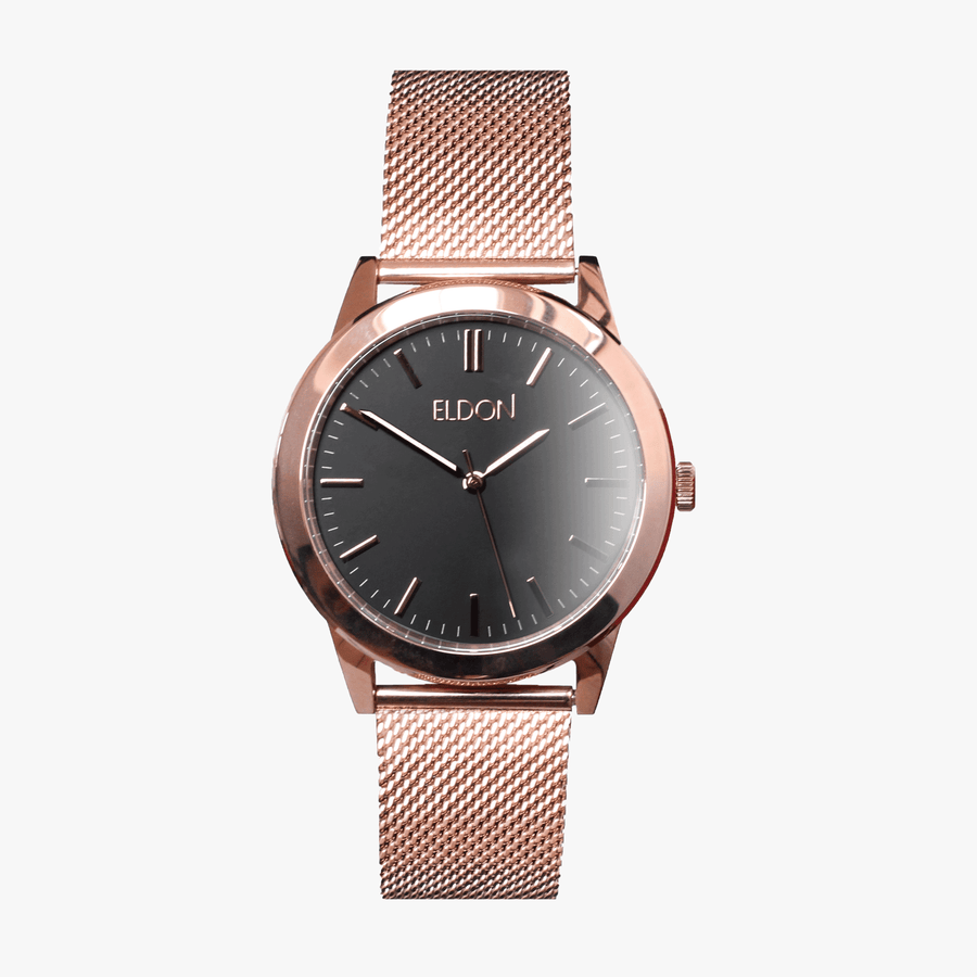 The Rose Black Slimline Eldon Customisable Modular Watch