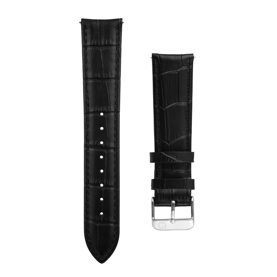 Black Alligator Leather Interchangeable Watch Strap
