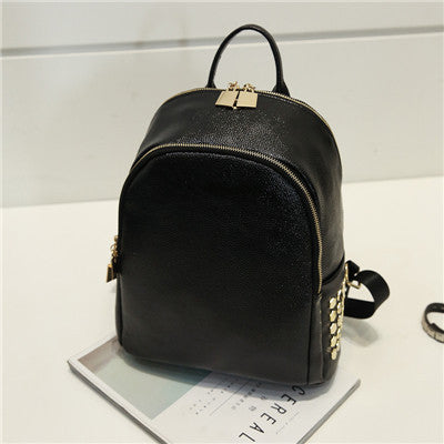 Black Big or Small Backpack in High Quality PU Leather and Gold Rivet  Details c3311cdb68538