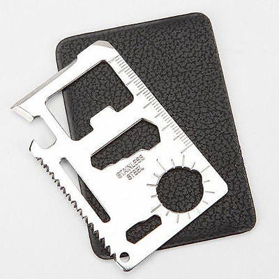 Pocket size Survival Disaster Business card tool can bottle opener knife wrench