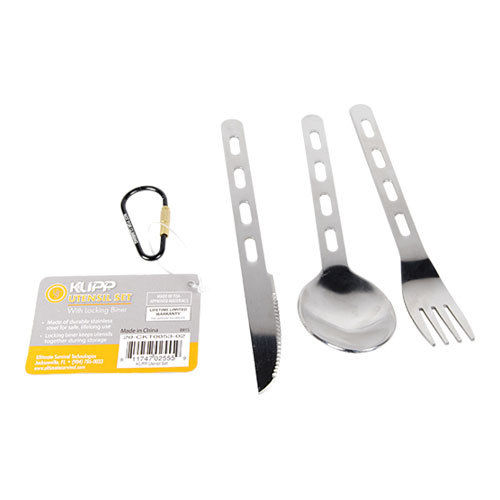 Klipp Utensil Set stainless steel spoon fork knife cook camping gear