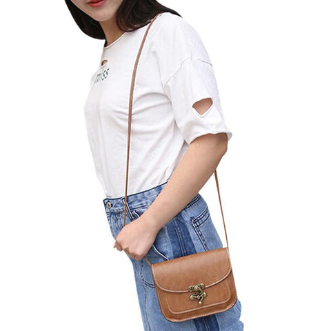 Women leather cross body messenger Lock Phone Coin small shoulder bag