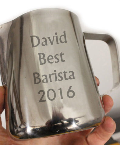 Personalised milk frothing jugs are popular this year!!