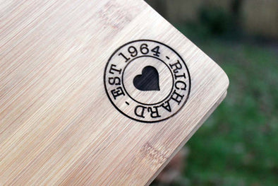 Personalised Bamboo Cheeseboard with knife set