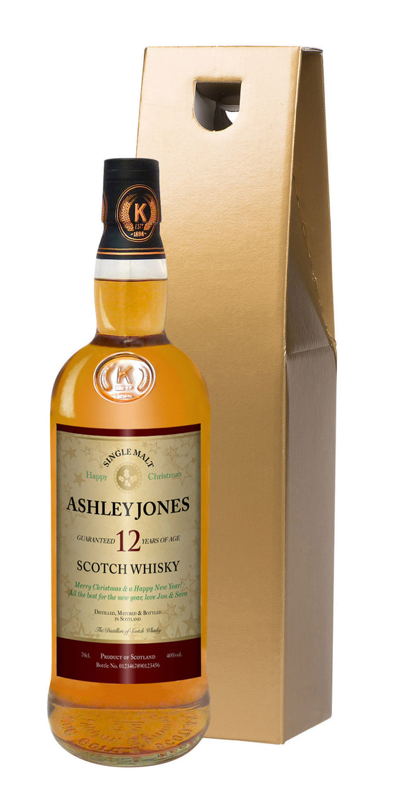 Personalised Christmas 12 Yr Old Malt Whisky