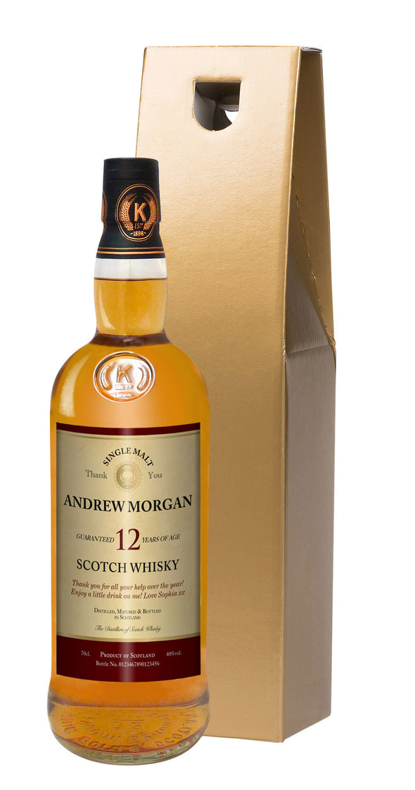 Personalised Thank You 12 Yr Old Malt Whisky