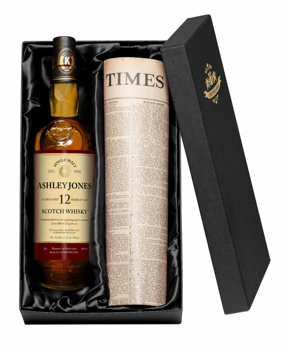 Personalised 12 Yr Old Malt Whisky & Newspaper Gift Set