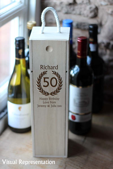 Personalised Single Wooden 50th birthday wine box, includes a choice of wine.