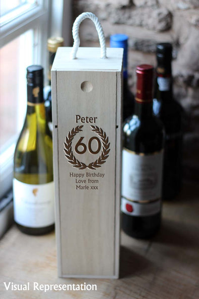 Personalised Single Wooden 60th birthday wine box, includes a choice of wine.