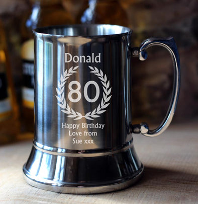 80th Birthday Personalised Tankard