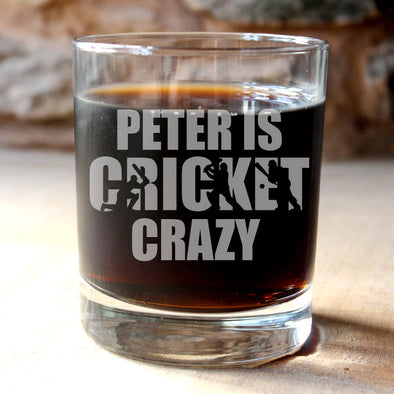 Personalised Cricket Glass Tumbler