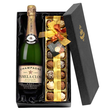 Personalised Champagne Bottle and Chocolate Gift Box