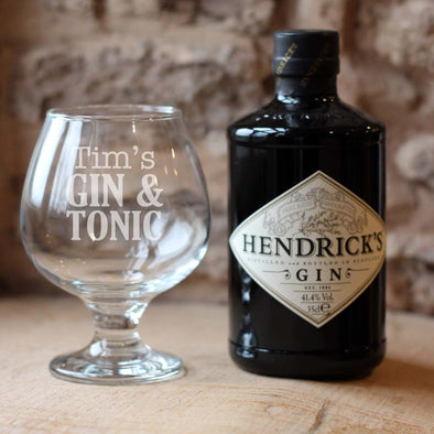 Personalised Gin & Tonic glass and Hendricks bottle