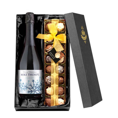 Personalised Winter Snow Prosecco Bottle and Chocolate Gift Box